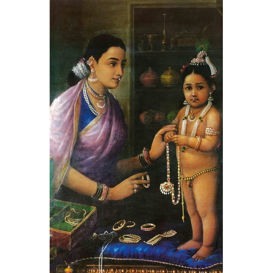 "Fantaboy Yashoda Adoring Krishna (Unframed Canvas Prints) -Raja Ravi Varma Paintings - 24""X16"""