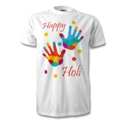 d27fb1cf Fantaboy Happy Holi Colorful Hands Half Sleeve Casual Printed T Shirt
