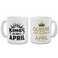 """Fantaboy  """"Are Born In April"""" King And Queen Printed Coffee Mug"""