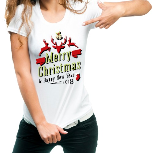 Fantaboy Merry Christmas Happy New Year 2018 Printed T-shirt