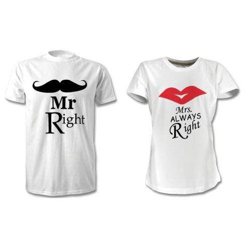 Fantaboy Mr. Right and Mrs. Always Right Printed T-Shirt