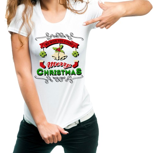 Fantaboy We Wish You Merry Christmas Printed T-shirt
