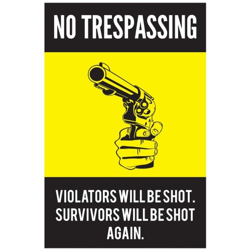 "Fantaboy Funny Trespass Quote Poster (12""x""18)"