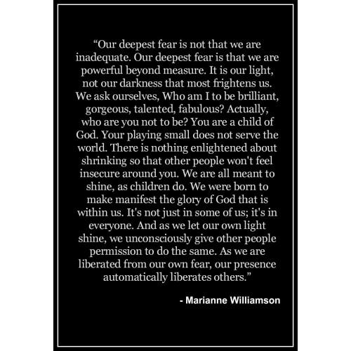 "Fantaboy Marianne Williamson Quote Poster (12""x""18)"