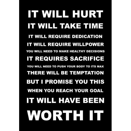 """Fantaboy It will Hurt… Inspirational Quote Poster (12""""x""""18)"""