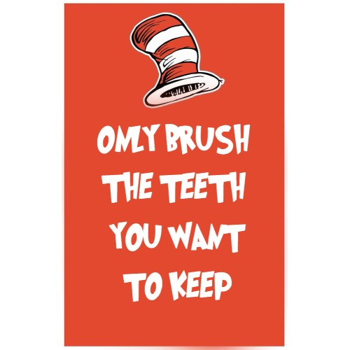 "Fantaboy Funny Tooth Brushing Quote Poster (12""x""18)"