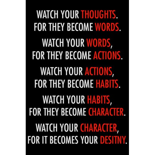 "Fantaboy Watch your Thoughts.. Motivational Poster (12""x""18)"