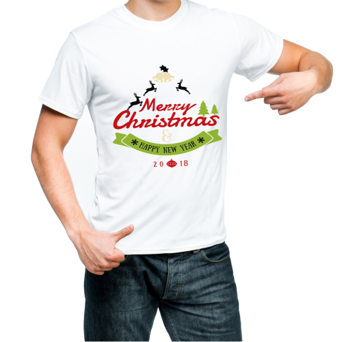 Fantaboy Marry Christmas Happy New Year 2018 Printed T-Shirt