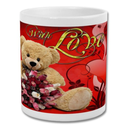 "Fantaboy Valentine Day Teddy Bear ""With Love "" Printed Coffee Mug"
