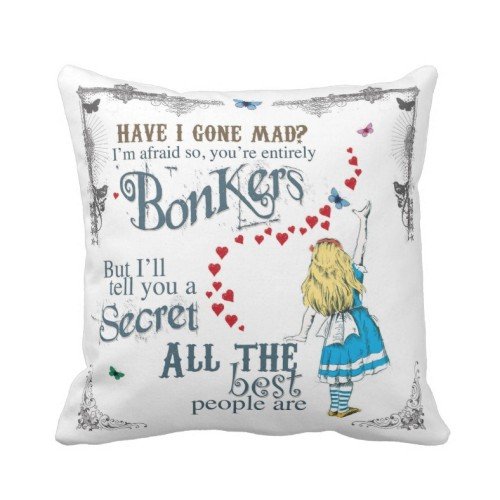 Fantaboy Alice In Wonderland With Mad Hatter Quote Cushion Cover