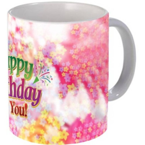Fantaboy Happy Birthday Floral Print Coffee Mug