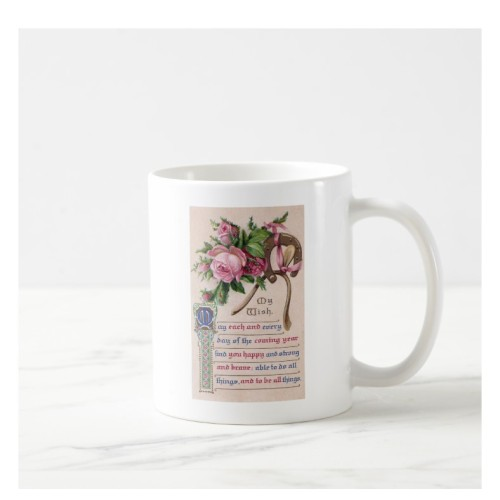 Fantaboy Birthday Wish Roses and Horseshoe Coffee Mug