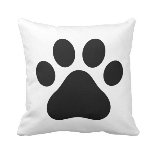 Fantaboy Black and White Dog Paw Print Square Cushion Cover