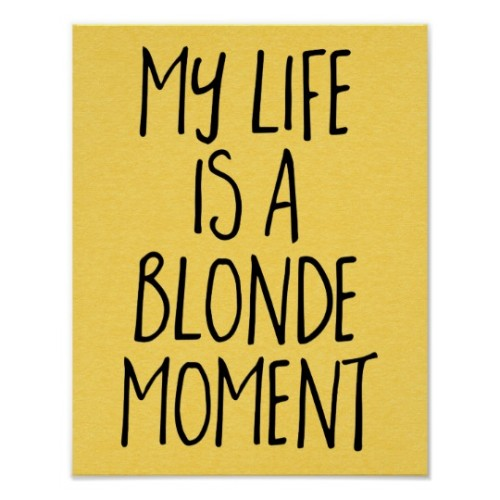 Fantaboy My Life Is A Blonde Moment Quote  Printed Poster (12 x 18)