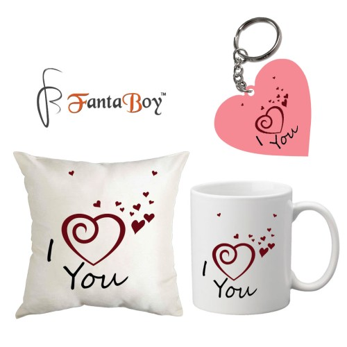"Fantaboy Flying Miniature Hearts ""I love you"" Quote Printed Combo Valentine Day Gift.(Cushion Cover, Coffee Mug , Key Ring.)"