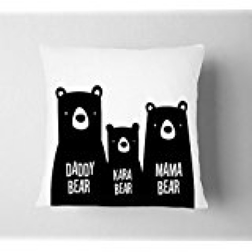 Fantaboy  Bear Family Printed Cushion Cover