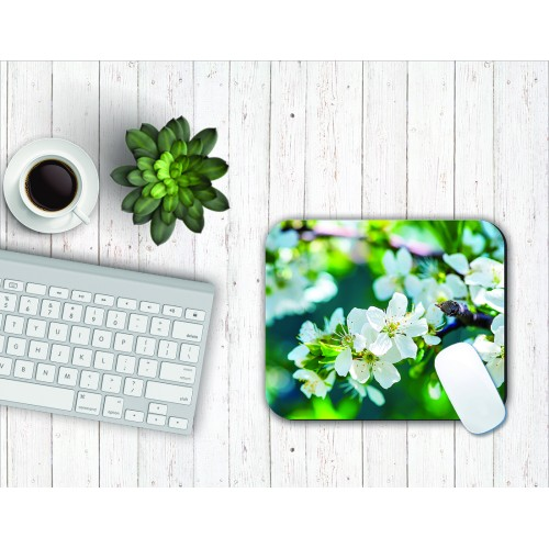 Fantaboy White Green Floral Print Mouse Pad