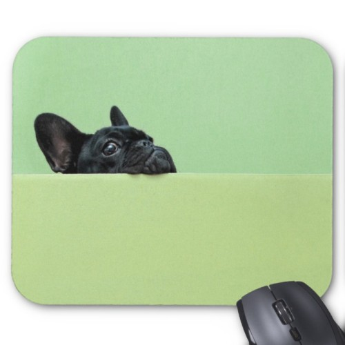 Fantaboy French Bulldog Puppy Peering Over Wall Mouse Pad