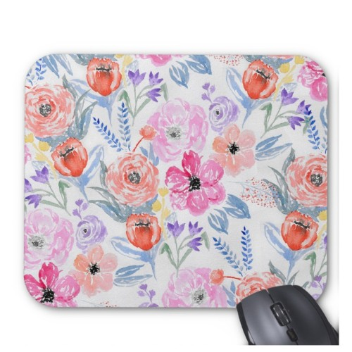 Fantaboy Hand Painted Pink Coral Watercolor Flowers Mouse Pad
