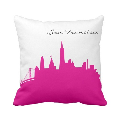 Fantaboy Hot Pink and White San Francisco Skyline Cushion Cover