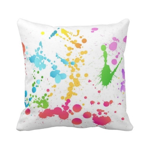 Fantaboy Multi Colored Paint Splattered Cushion Cover