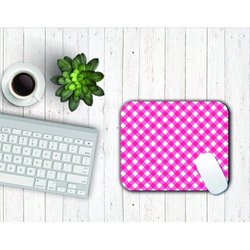 Fantaboy Pink Checks Pattern Mouse Pad