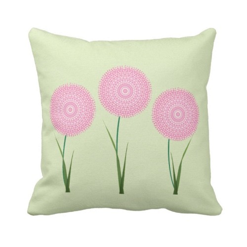 Fantaboy Pink Green Cute Blooming Flowers Cushion Cover