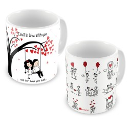 """FantaBoy Valentine Day Special Combo Offer """"I Fell In Love With You"""" Tree & Heart Printed Coffee Mug For Girlfriend,Boyfriend,Husband,Wife,Fiance, Fiance Or Your Loved Ones"""