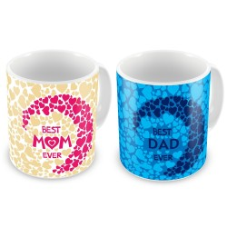 """Fantaboy Best Anniversary Gift Combo Offer""""Best Mom & Dad Ever""""Printed Coffee Mugs For Your Mother,For Your Father,For Your Mother-In-Law,For Your Father-In-Law on Anniversary, Any Special Day."""