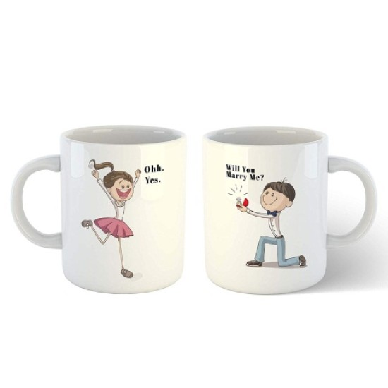 """FantaBoy Valentine Day Special Combo Offer  2 Ceramic """"Marry Me"""" Printed Coffee Mug For Girlfriend,Boyfriend,Husband,Wife,Fiance, Fiance Or Your Loved Ones"""