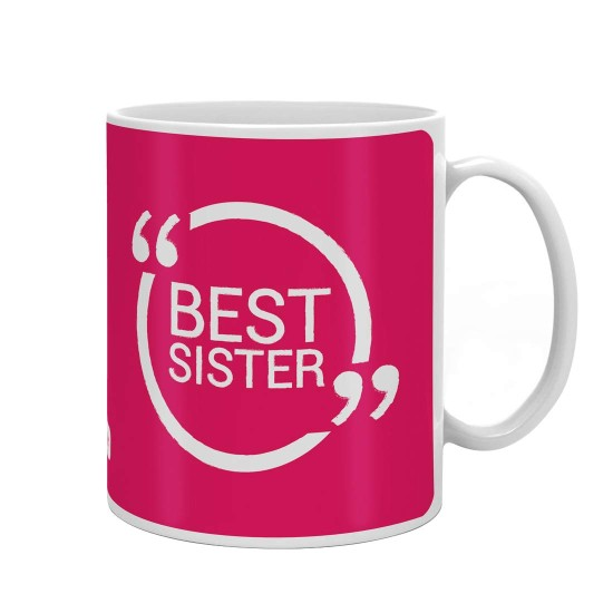 Fantaboy Birthday Gifts With Best Sisterin Pink Color Printed Coffee Mug For Your Big And Small Sister On Brother Anniversary Any Special Day
