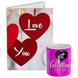 """Fantaboy   1st  Valentine Day  Gifts """"1st Valentine Day I love You"""" Printed  Coffee Mug With Beautiful Greeting Card for Your Boyfriend, Girlfriend, Husband, Wife, Fiance,Fiancee"""