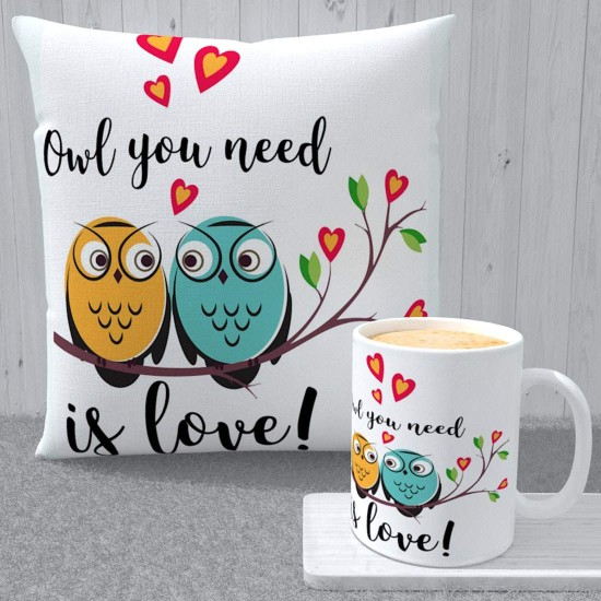 """FantaBoy Valentine Day Special Combo Offer """"You Need Is Love"""" Owl Printed Ceramic Coffee Mug With Cushion Cover For Your Girlfriend,Boyfriend,Husband,Wife Or Your Loved Ones"""