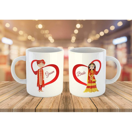 """FantaBoy Best Wedding Gifts with""""Bride & Groom """" Cartoon Printed Beautiful Coffee Mug for Your Friend.Husband,Wife,Boyfriend,Girlfriend,Fiance,Finacee,Sister,Father,Mother,Brother,on Wedding , Anniversary,Birthday Or Any Special Day"""