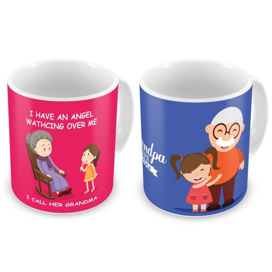 """Fantaboy  Best Anniversary  Gift  Combo Offer  """"Grandpa & Grandmaa  """"Printed Coffee Mugs  For Your  Grandpaa  , For Your Grandmaa on Anniversary, on Birthday , AnySpecial Day"""