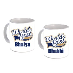 "Fantaboy  Best Anniversary  Gift  Combo Offer  ""World Best Bhiya & Bhabhi  ""Printed Coffee Mugs  For Your  Bhiya , For Your Bhabhi on Anniversary, on Birthday , AnySpecial Day"