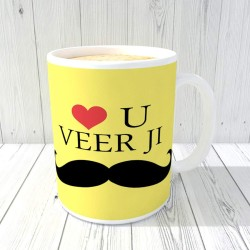 "FantaBoy best gift with "" Love you Veer Ji "" Printed Coffee Mug for your Big or Small Brother on Anniversary or Birthday or any other special Day"