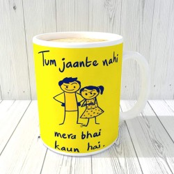 "FantaBoy Best Gifts with""Tum Jaante Nahi Mera Bhai Kaun Hai "" Printed Beautiful Coffee Mug for Your Friend.Husband,Wife,Boyfriend,Girlfriend,Fiance,Finacee,Sister,Father,Mother,Brother,on Anniversary,Birthday Or Any Special Day"