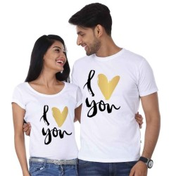 "FantaBoy Best Valentine Day Gift  "" I Love You""  Printed Couple White T-Shirt For Your Husband,Wife,Boyfriend,BoyFriend,Fiance,Fiancee on Valentine Day, Anniversary,Birthday Or Any Special Occasion"