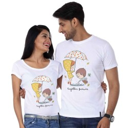"""FantaBoy Best Valentine Day Gift  """" Together Forever""""  Cute Cartoon Printed Couple White T-Shirt For Your Husband,Wife,Boyfriend,BoyFriend,Fiance,Fiancee on Valentine Day, Anniversary,Birthday Or Any Special Occasion"""