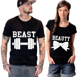 """FantaBoy Best Valentine Day Gift  """"Beast & Beauty"""" Printed Couple Black T-Shirt For Your Boyfriend,Girlfriend,Fiance,Fiancee on Valentine Day,Birthday Or Any Special Occasion"""