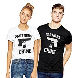 """Fantaboy Best Valentine Day Gift  """"Partners In Crime """" Printed Couple White & Black  T-Shirt For Your Boyfriend,Girlfriend,Husband,Wife,Fiance,Fiancee on Valentine Day, Anniversary,Birthday"""