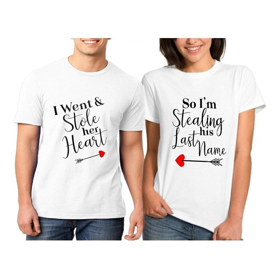 I Am Stealing His Last Name Printed Couple Black T Shirt For Your BoyfriendGirlfriendFianceFiancee On Valentine DayBirthday Or Any Special Occasion