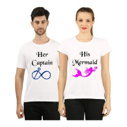 "FantaBoy Best Valentine Day Gift  ""Her Captain & His Mermaid"" Printed Couple White T-Shirt For Your Boyfriend,Girlfriend,Husband,Wife,Fiance,Fiancee on Valentine Day, Anniversary,Birthday"