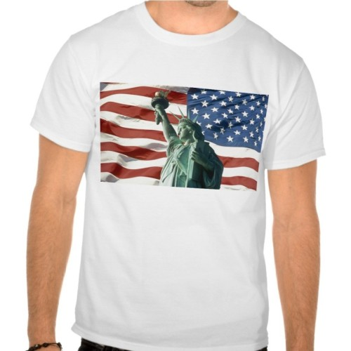 Red, White, and Blue Liberty Printed T-Shirt