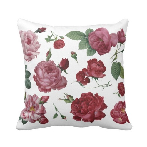 Fantaboy Roses Printed White Cushion Cover